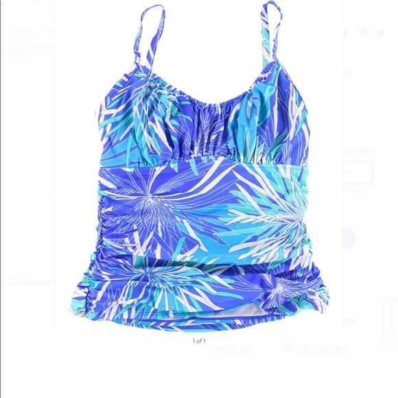 622718249 Swim Solutions Ruched Tummy Control Swim Top 10